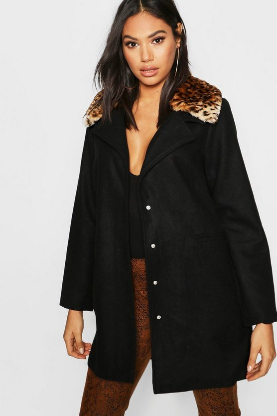 Black Tall Leopard Print Faux Fur Collar Wool Look Coat