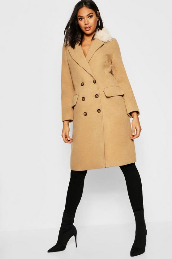 Womens Camel Tall Faux Fur Collar Double Breasted Wool Look Coat