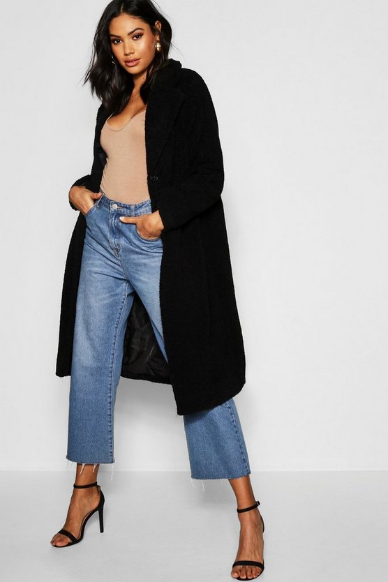 Womens Black Tall Oversized Teddy Faux Fur Coat