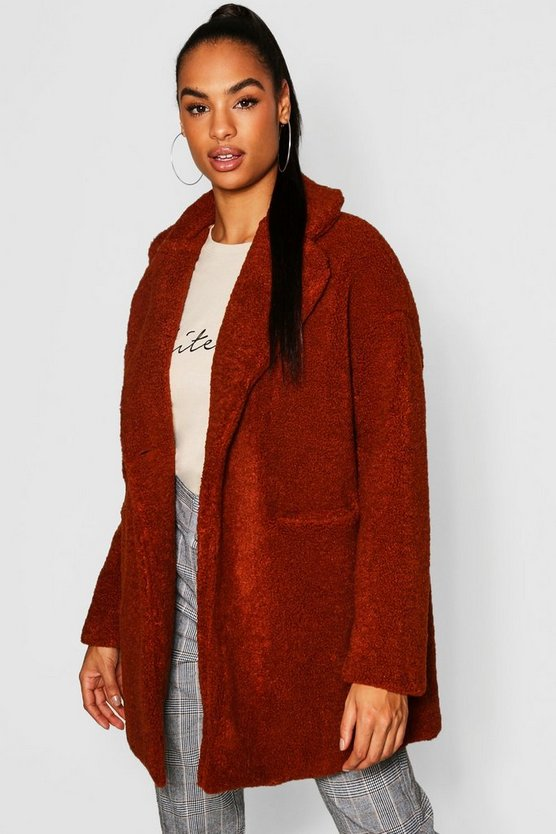 Womens Camel Tall Teddy Faux Fur Coat