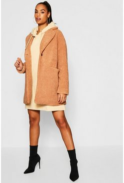 Womens Beige Tall Teddy Faux Fur Coat
