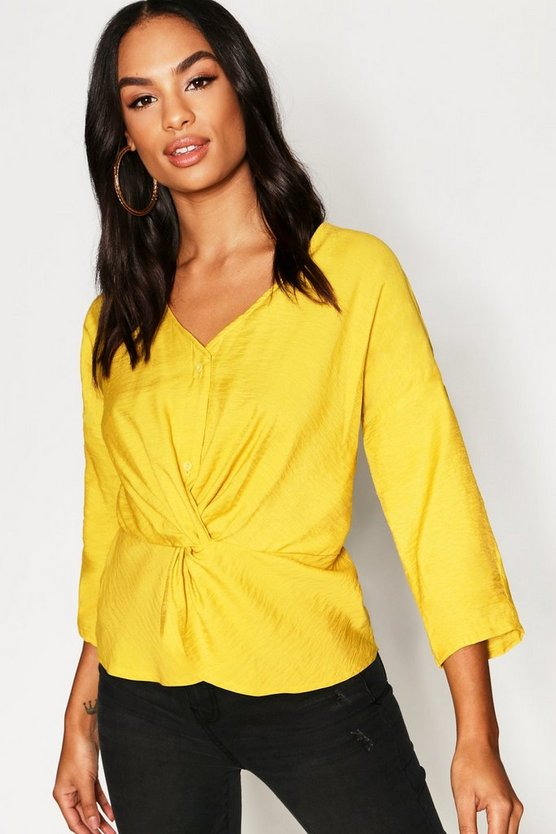Tall Crop Knot Front Button Blouse