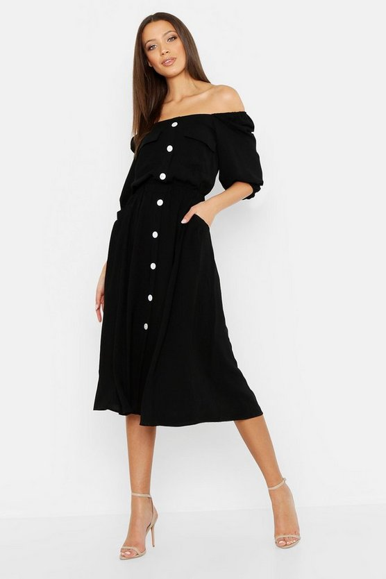 Womens Black Tall Square Neck Button Front Dress