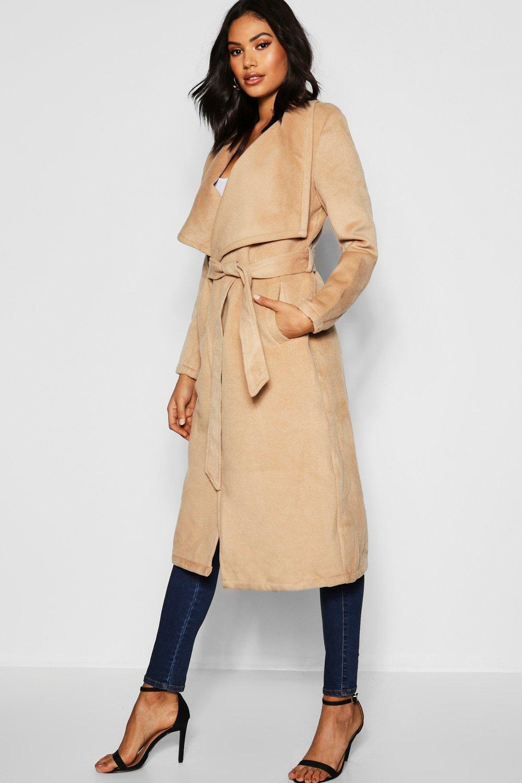 Tall Shawl Collar Belted Wool Coat