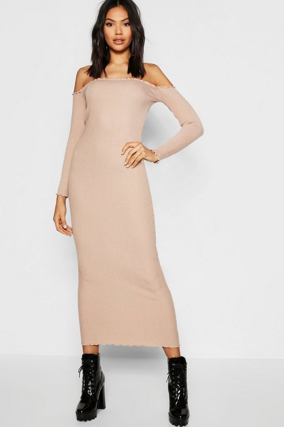 Womens Beige Tall Bardot Knitted Midi Dress