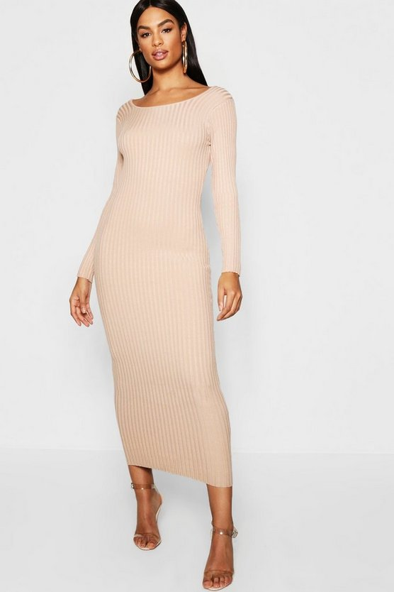 Tall Knitted Scoop Neck Midi Dress