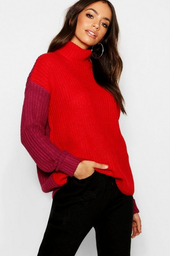 Berry Tall Colour Block Roll Neck Jumper