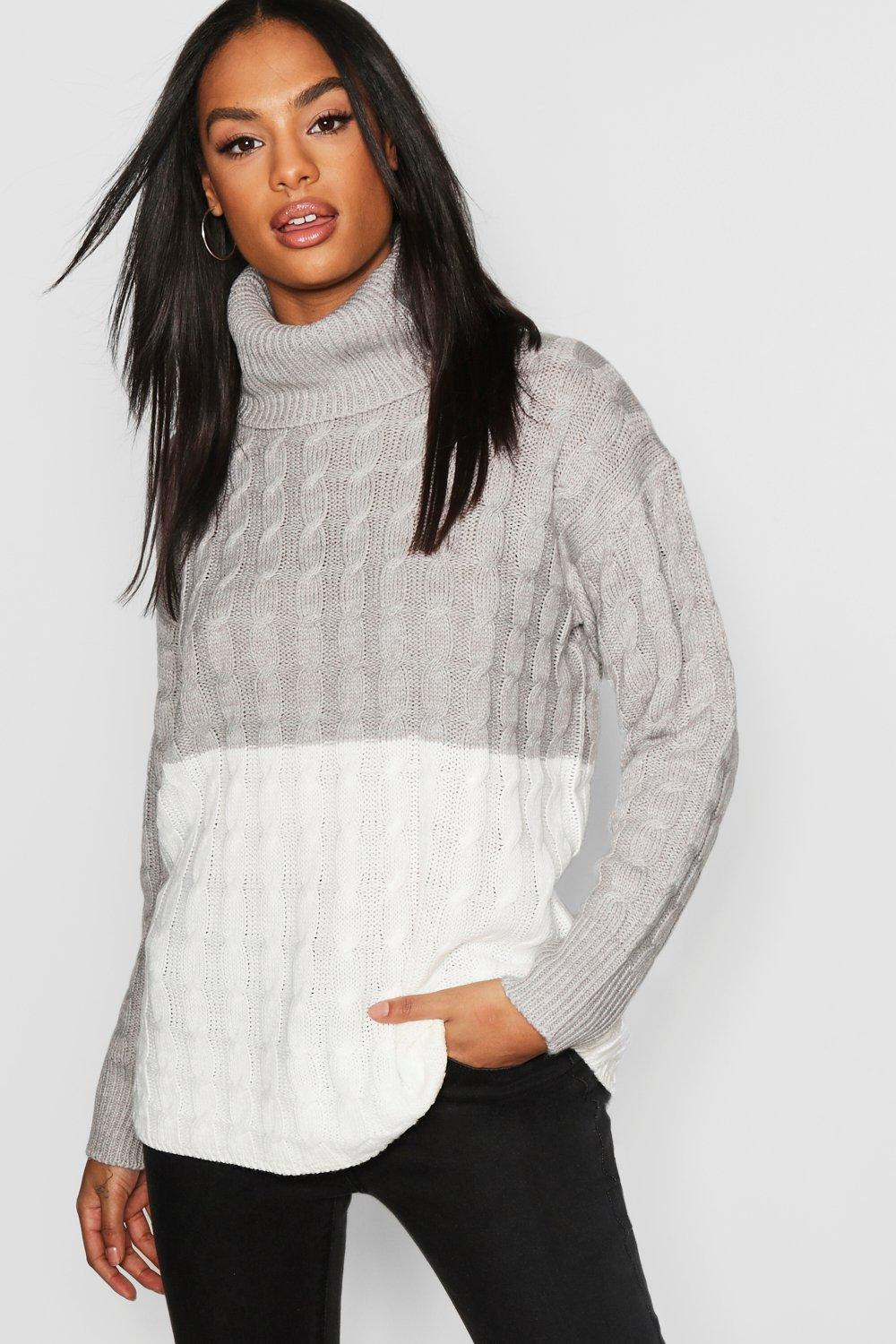 Tall Colour Block Cable Roll Neck jumper