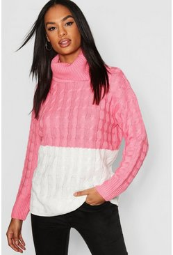 Womens Pink Tall Colour Block Cable Roll Neck jumper