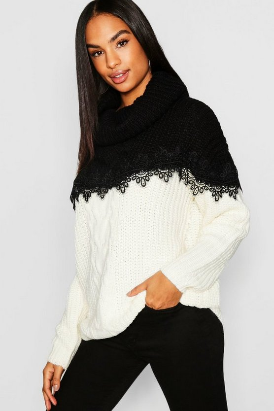Tall Lace Trim Colour Block Roll Neck Jumper
