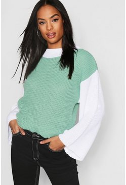 Womens Aqua Tall Colour Block Sweater