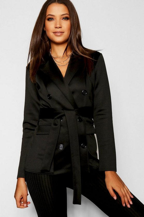 Womens Black Tall Double Breasted Belted Blazer