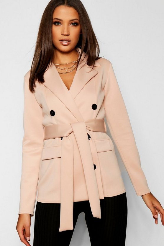 Tall Double Breasted Belted Blazer