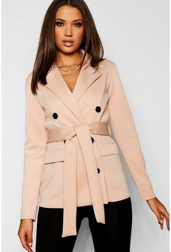 Womens Stone Tall Double Breasted Belted Blazer