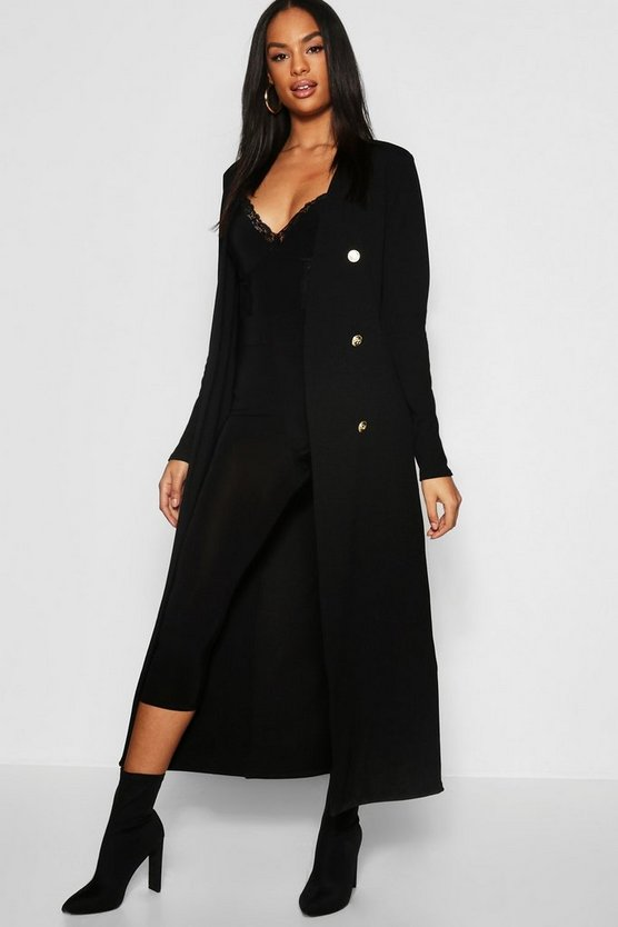 Womens Black Tall Button Front Duster Jackets