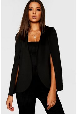 Tall blazer a mantella, Nero, Femmina