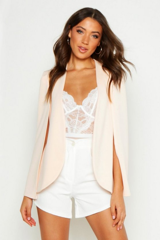 Womens Blush Tall Cape Blazer