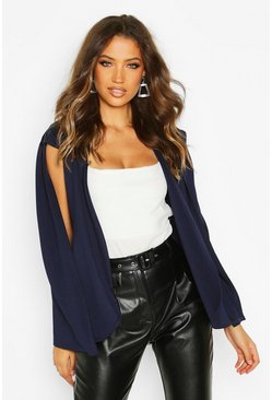 Womens Navy Tall Cape Blazer