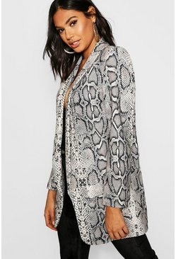Womens Black Tall Snake Print Tailored Blazer