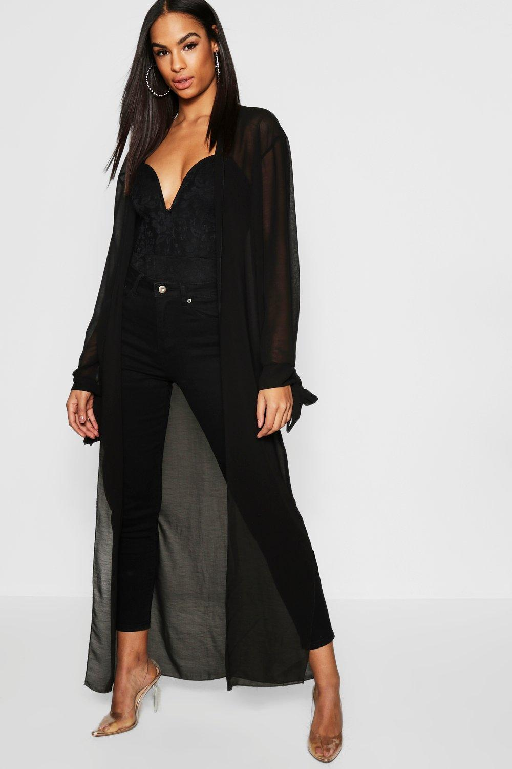 Tall Tie Sleeve Woven Duster