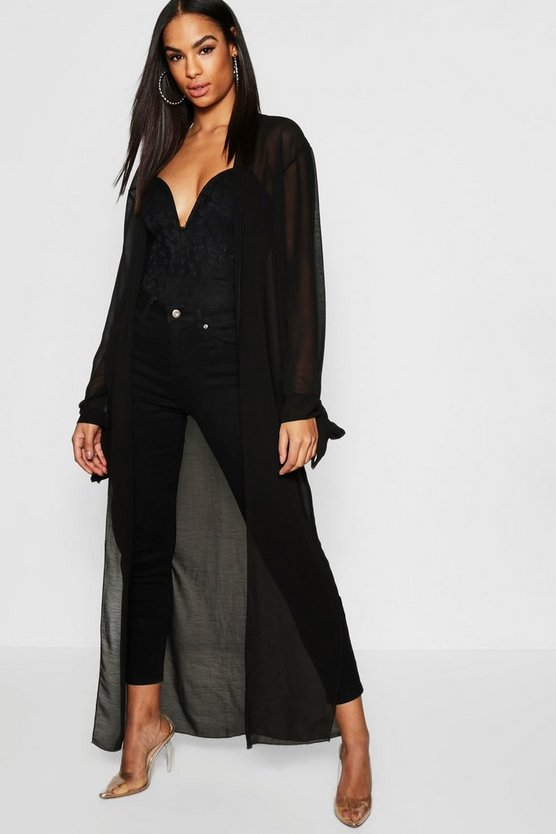 Black Tall Tie Sleeve Woven Duster