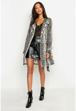Womens Brown Tall Snake Print Trench Coat