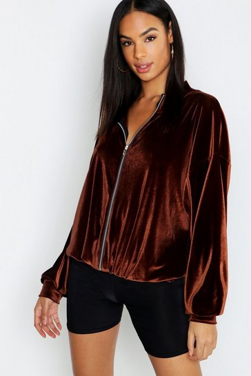 Womens Chocolate Tall Velvet Batwing Bomber Jacket