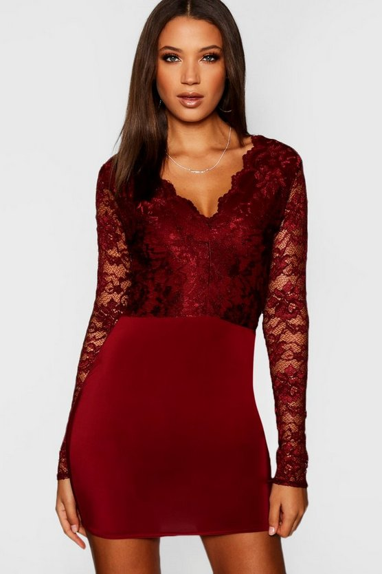 Womens Tall Plunge Lace Bodycon Mini Dress
