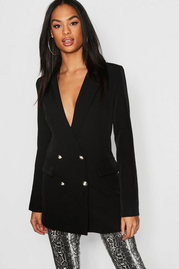 Womens Black Tall Button Detail Tailored Blazer