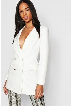 Ivory Tall Button Detail Tailored Blazer