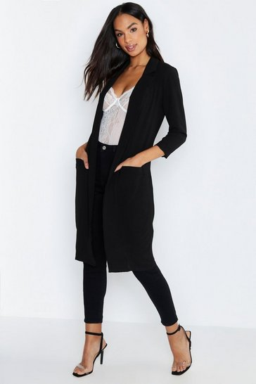 Black Tall Woven Duster Coat