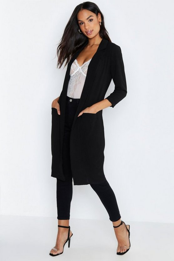 Womens Black Tall Woven Duster Coat