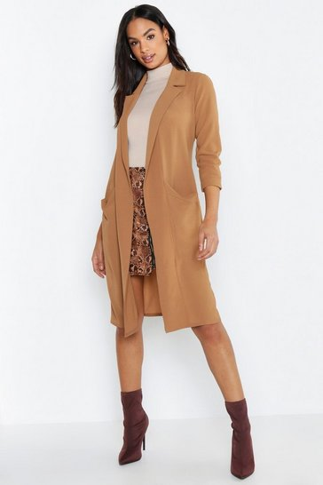 Womens Camel Tall Woven Duster Coat