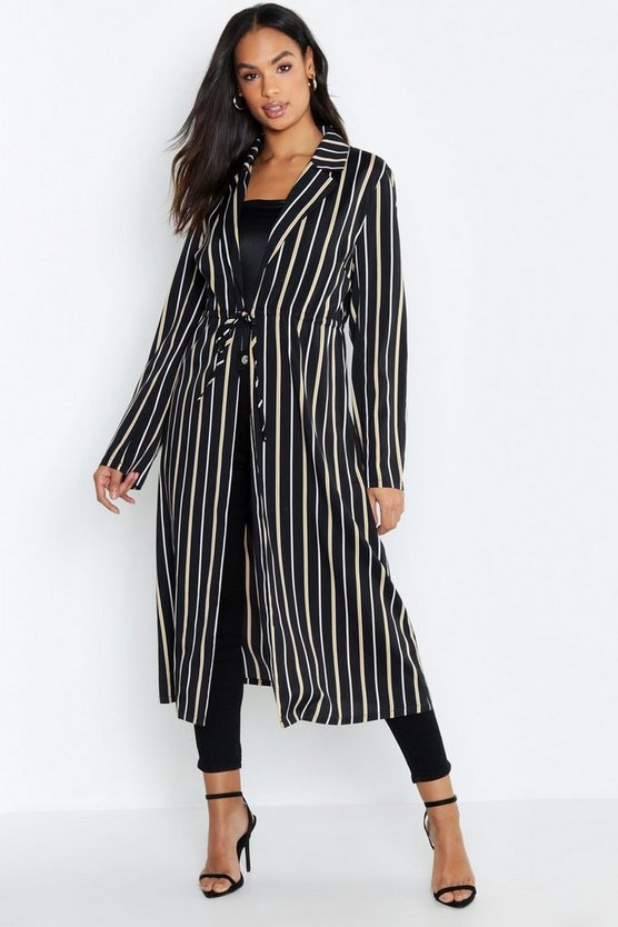Tall Stripe Woven Duster Jacket