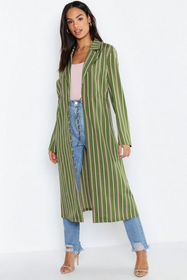Womens Khaki Tall Stripe Woven Duster Jacket
