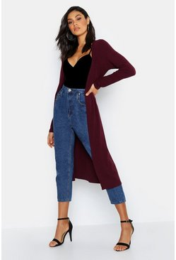 Womens Wine Tall Tie Waist Rib Duster