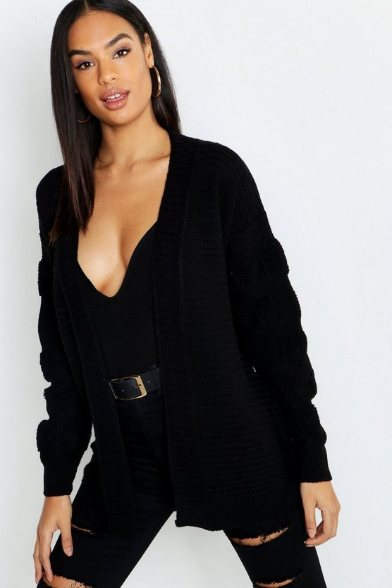 Black Tall Chunky Bubble Sleeve Cardigan