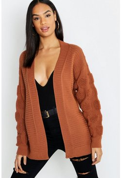 Womens Tobacco Tall Chunky Bubble Sleeve Cardigan