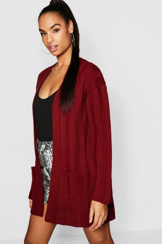Womens Berry Tall Wide Rib Slouchy Cardigan
