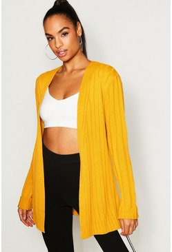 Womens Mustard Tall Wide Rib Edge Cardigan