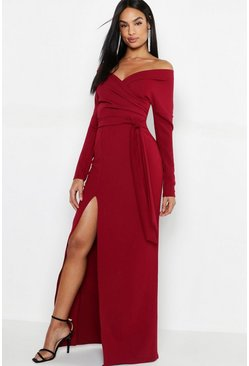 Berry Tall Off The Shoulder Thigh Split Maxi Dress