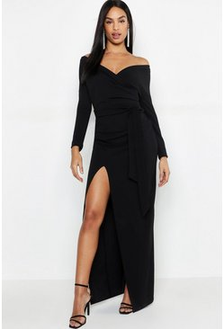 Black Tall Off The Shoulder Thigh Split Maxi Dress