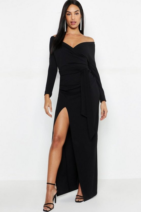 Tall Off The Shoulder Thigh Split Maxi Dress