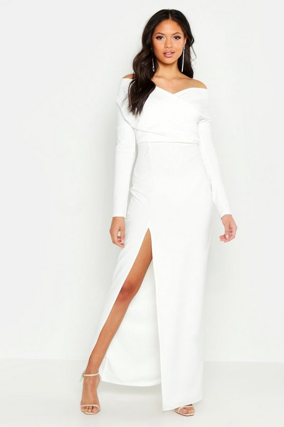 Womens Ivory Tall Off The Shoulder Thigh Split Maxi Dress