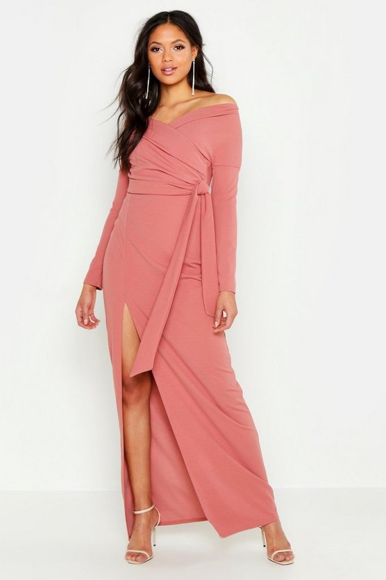Womens Rose Tall Off The Shoulder Thigh Split Maxi Dress
