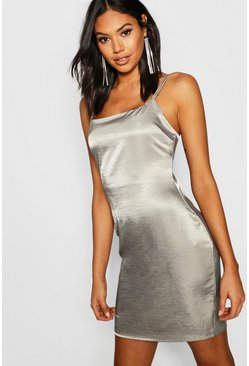 Womens Olive Tall Hammered Satin Cami Dress