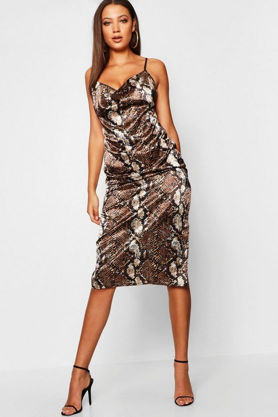 Tall Cowl Neck Snake Print Mini Dress