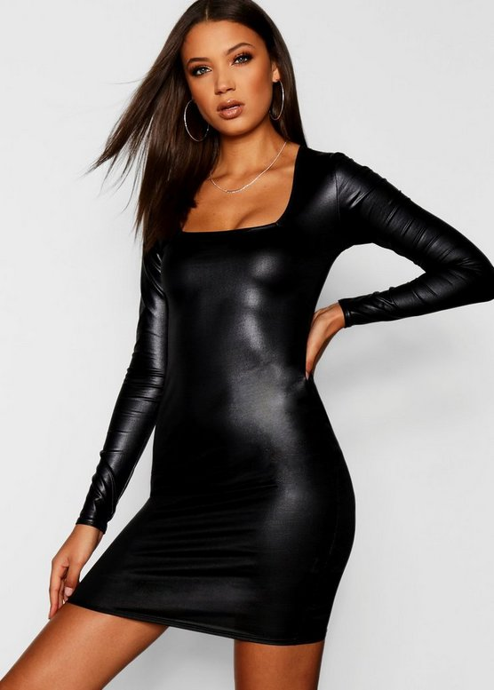 Tall PU Bodycon Mini Dress