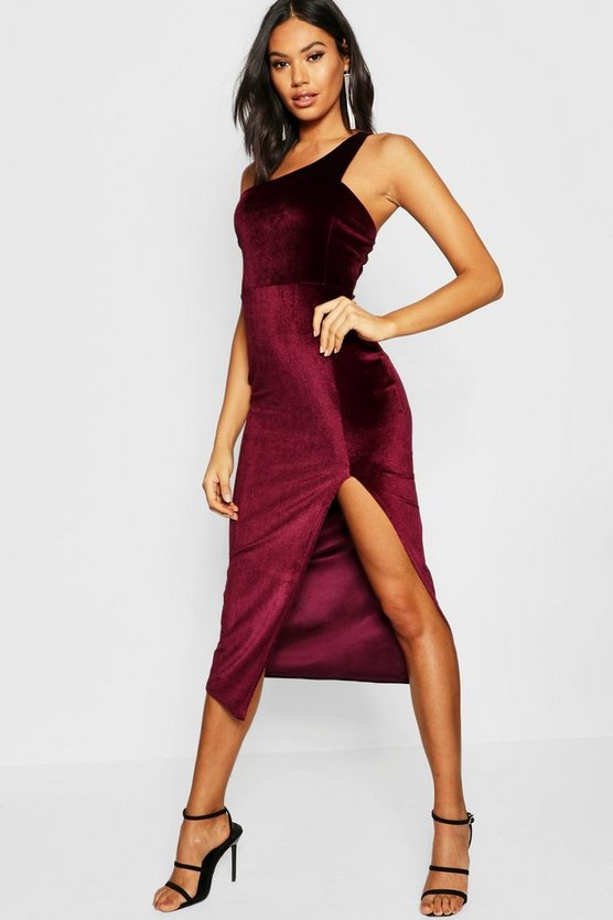 Tall Strappy One Shoulder Velvet Mini Dress