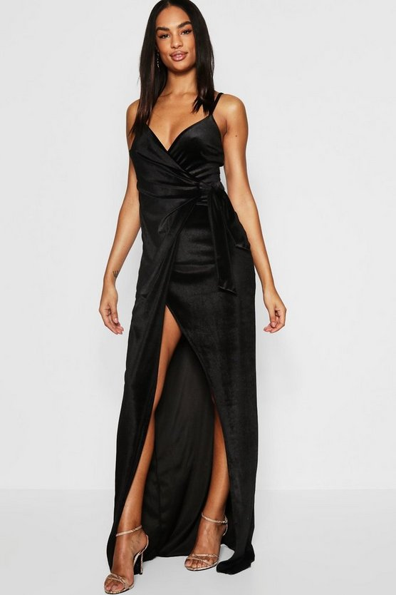 Womens Black Tall Wrap And Tie Detail Velvet Maxi Dress